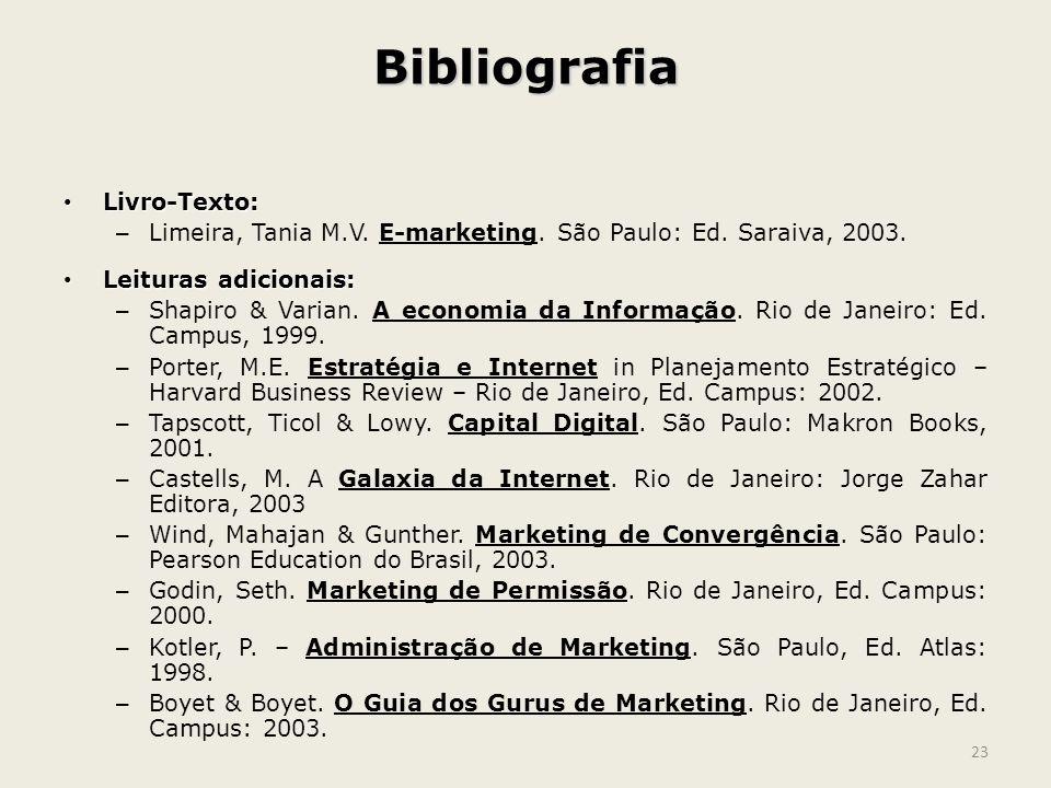 Bibliografia Livro-Texto: Livro-Texto: – Limeira, Tania M.V. E-marketing. São Paulo: Ed. Saraiva, 2003. Leituras adicionais: Leituras adicionais: – Sh