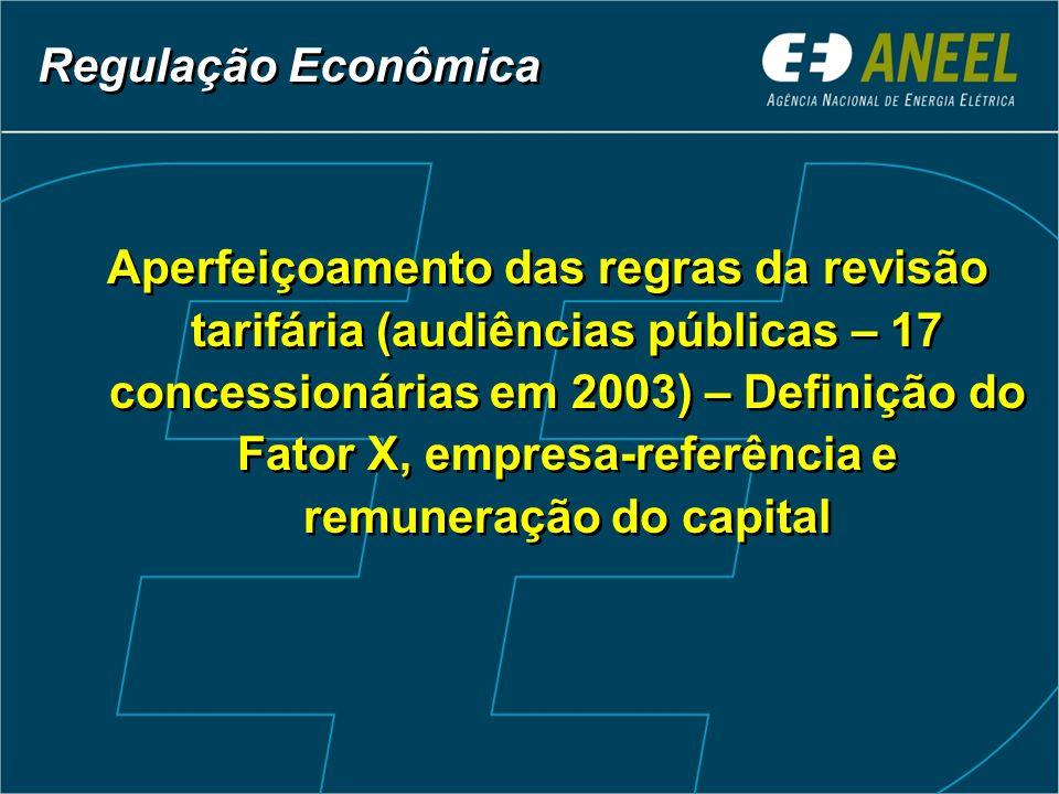 Regulação Econômica Aperfeiçoamento das regras da revisão tarifária (audiências públicas – 17 concessionárias em 2003) – Definição do Fator X, empresa-referência e remuneração do capital