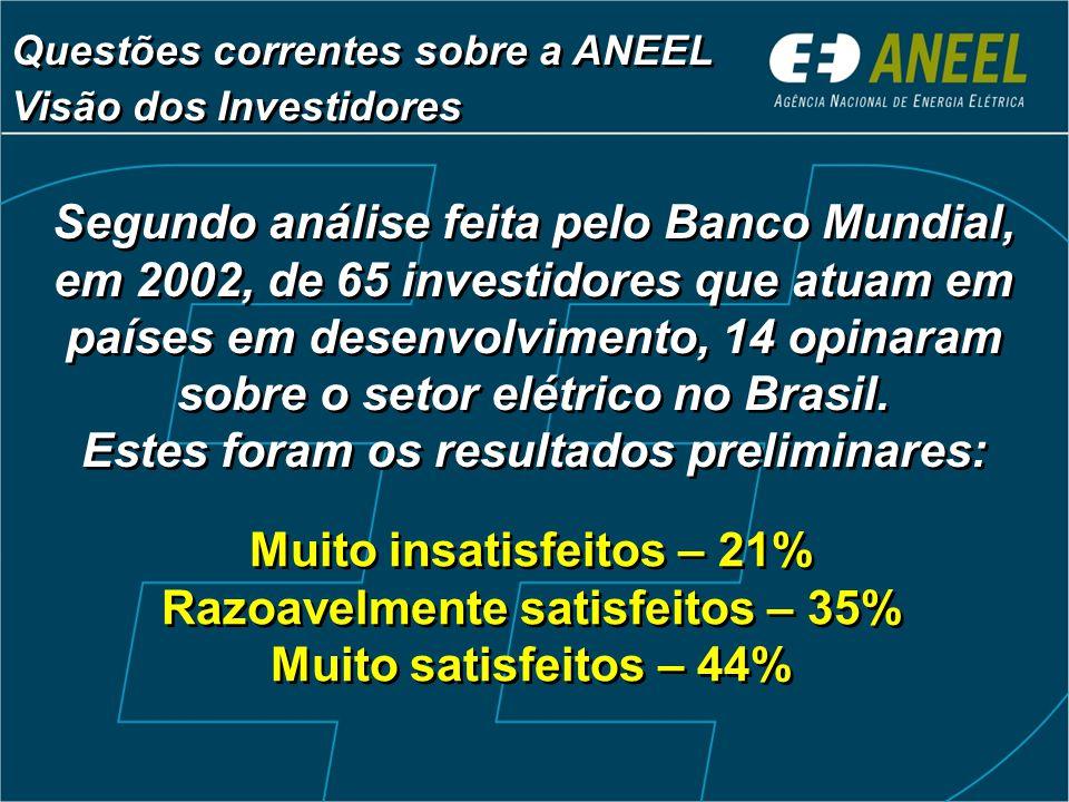 Segundo análise feita pelo Banco Mundial, em 2002, de 65 investidores que atuam em países em desenvolvimento, 14 opinaram sobre o setor elétrico no Brasil.