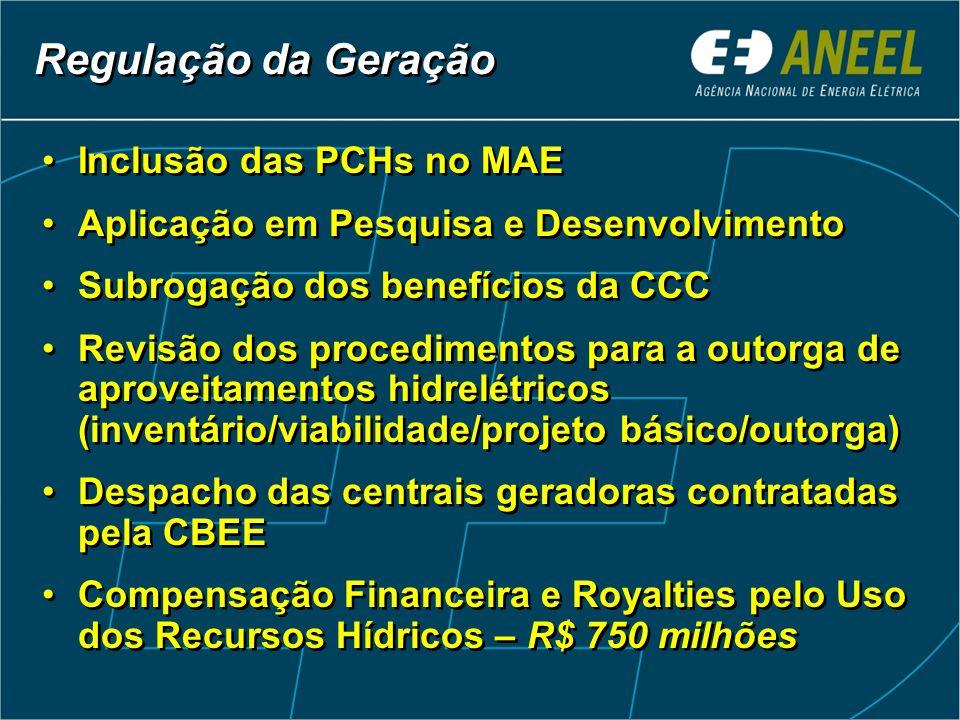 Inclusão das PCHs no MAE Aplicação em Pesquisa e Desenvolvimento Subrogação dos benefícios da CCC Revisão dos procedimentos para a outorga de aproveitamentos hidrelétricos (inventário/viabilidade/projeto básico/outorga) Despacho das centrais geradoras contratadas pela CBEE Compensação Financeira e Royalties pelo Uso dos Recursos Hídricos – R$ 750 milhões Inclusão das PCHs no MAE Aplicação em Pesquisa e Desenvolvimento Subrogação dos benefícios da CCC Revisão dos procedimentos para a outorga de aproveitamentos hidrelétricos (inventário/viabilidade/projeto básico/outorga) Despacho das centrais geradoras contratadas pela CBEE Compensação Financeira e Royalties pelo Uso dos Recursos Hídricos – R$ 750 milhões Regulação da Geração