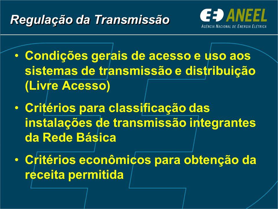 Condições gerais de acesso e uso aos sistemas de transmissão e distribuição (Livre Acesso) Critérios para classificação das instalações de transmissão integrantes da Rede Básica Critérios econômicos para obtenção da receita permitida Regulação da Transmissão