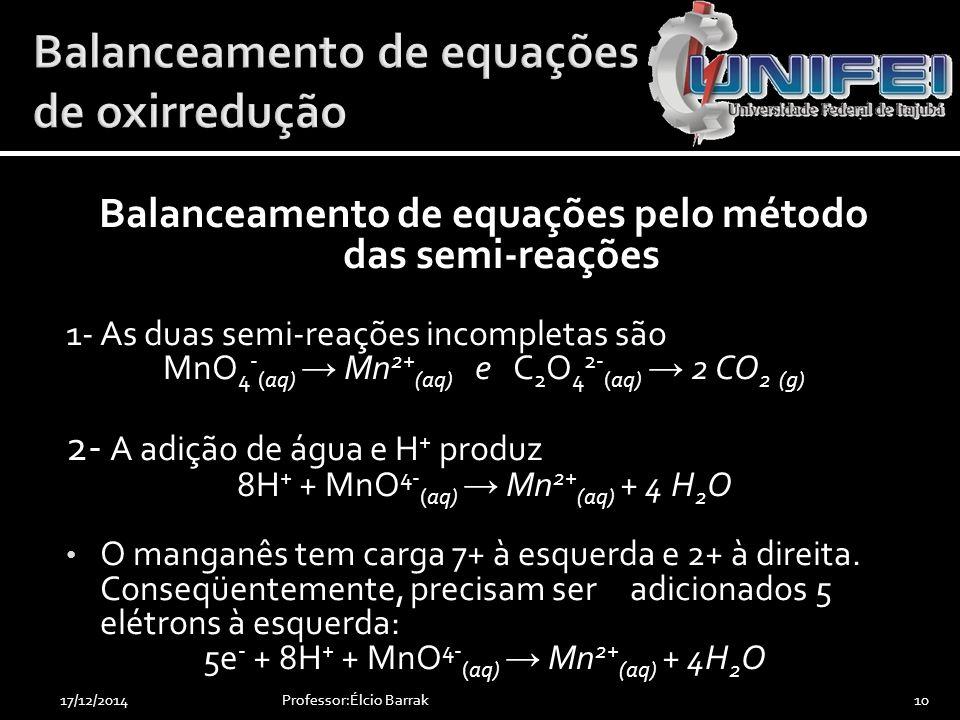 Balanceamento de equações pelo método das semi-reações 1- As duas semi-reações incompletas são MnO 4 - (aq) → Mn 2+ (aq) e C 2 O 4 2- (aq) → 2 CO 2 (g