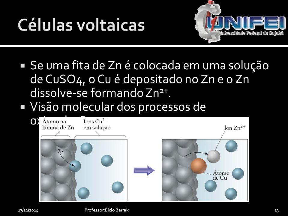  Se uma fita de Zn é colocada em uma solução de CuSO4, o Cu é depositado no Zn e o Zn dissolve-se formando Zn 2+.  Visão molecular dos processos de