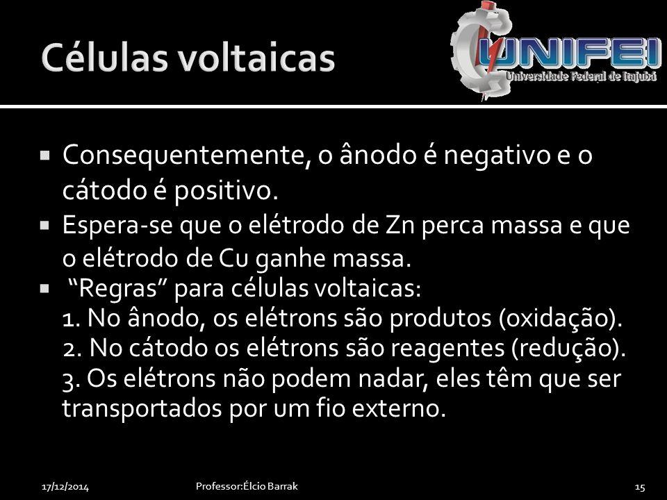 """ Consequentemente, o ânodo é negativo e o cátodo é positivo.  Espera-se que o elétrodo de Zn perca massa e que o elétrodo de Cu ganhe massa.  """"Regr"""