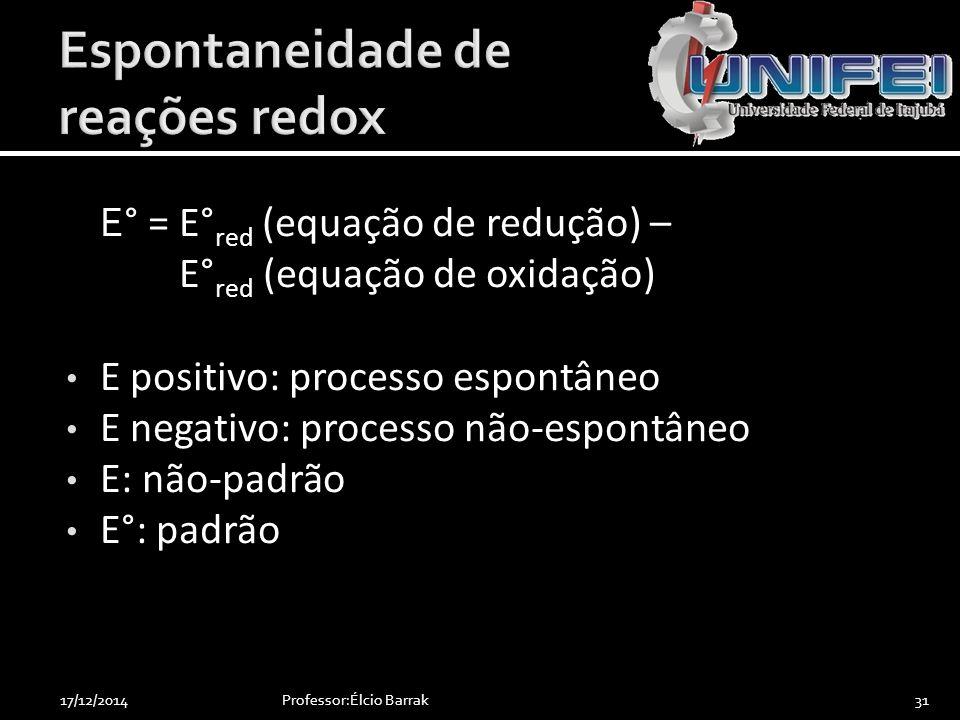 E ° = E° red (equação de redução) – E° red (equação de oxidação) E positivo: processo espontâneo E negativo: processo não-espontâneo E: não-padrão E°: