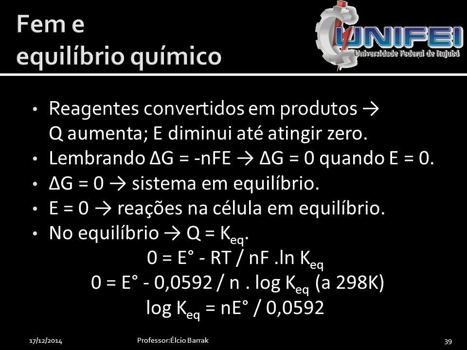 Reagentes convertidos em produtos → Q aumenta; E diminui até atingir zero. Lembrando ΔG = -nFE → ΔG = 0 quando E = 0. ΔG = 0 → sistema em equilíbrio.