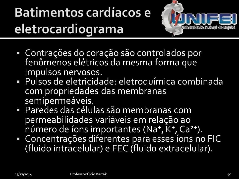  Contrações do coração são controlados por fenômenos elétricos da mesma forma que impulsos nervosos.  Pulsos de eletricidade: eletroquímica combinad