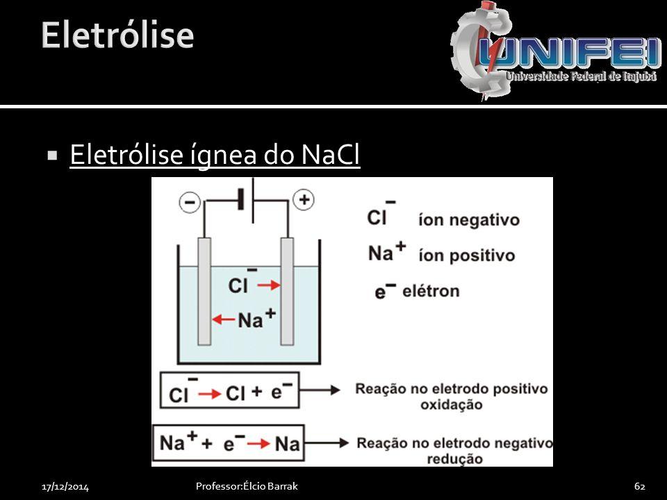  Eletrólise ígnea do NaCl Professor:Élcio Barrak6217/12/2014