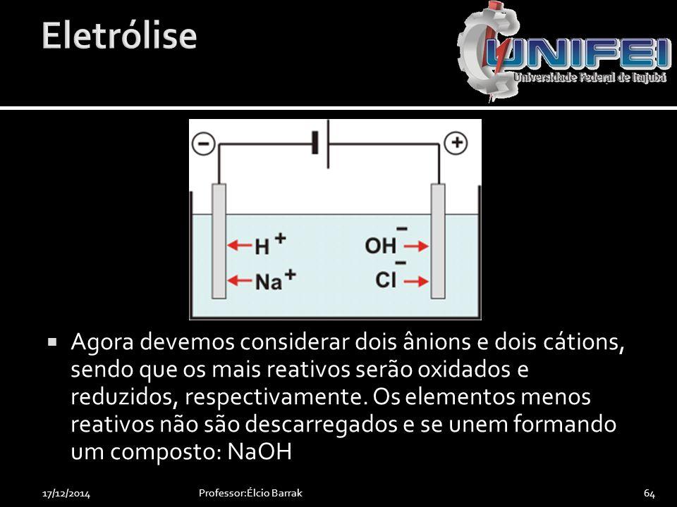  Agora devemos considerar dois ânions e dois cátions, sendo que os mais reativos serão oxidados e reduzidos, respectivamente. Os elementos menos reat
