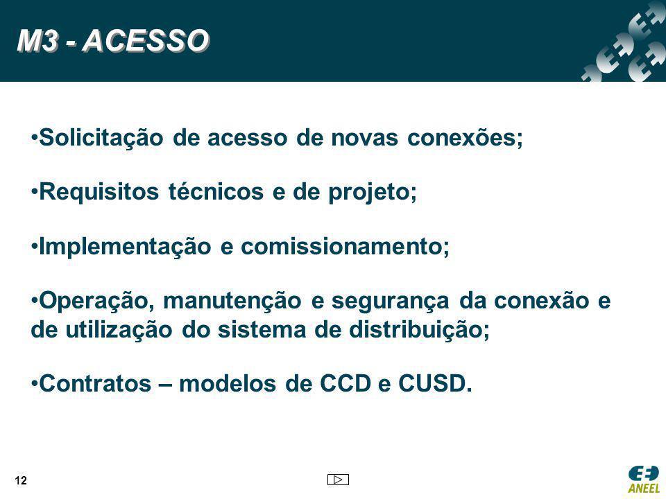 12 Solicitação de acesso de novas conexões; Requisitos técnicos e de projeto; Implementação e comissionamento; Operação, manutenção e segurança da con