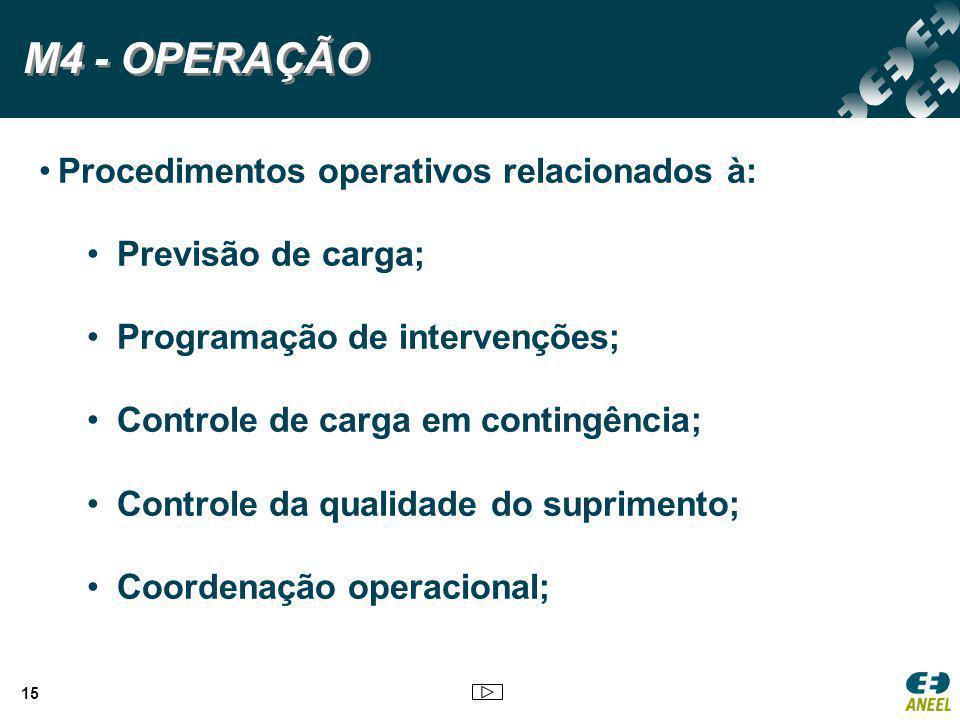 Procedimentos operativos relacionados à: Previsão de carga; Programação de intervenções; Controle de carga em contingência; Controle da qualidade do s