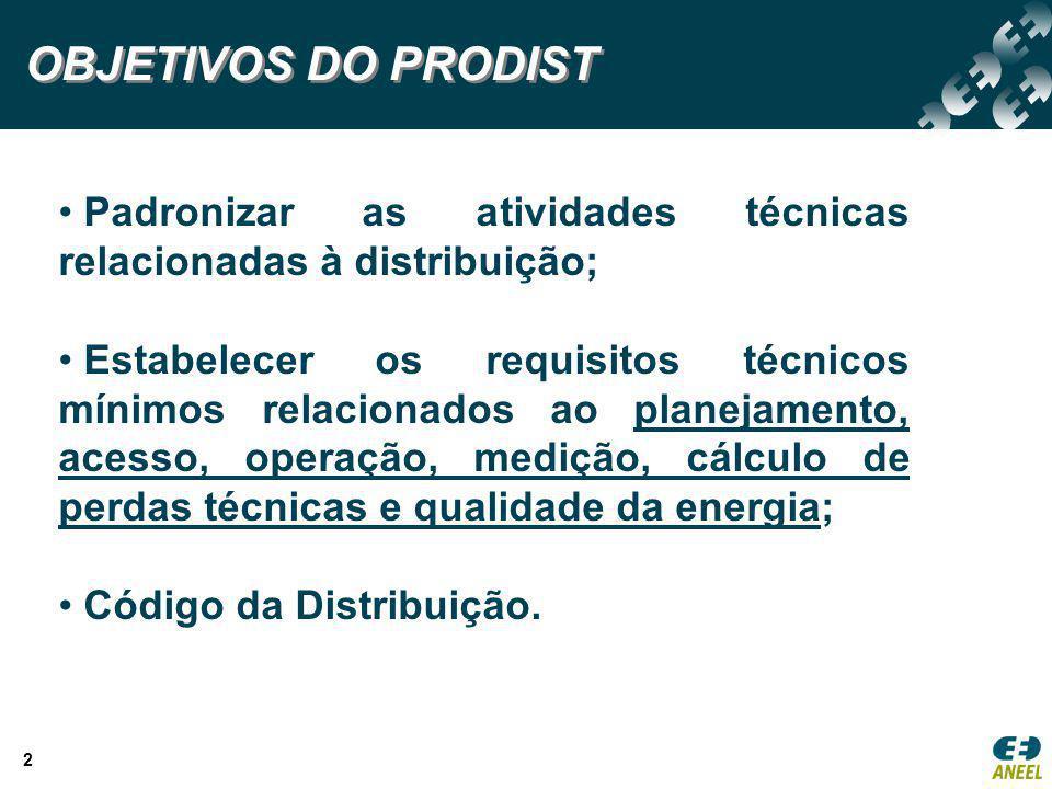 2 OBJETIVOS DO PRODIST Padronizar as atividades técnicas relacionadas à distribuição; Estabelecer os requisitos técnicos mínimos relacionados ao plane