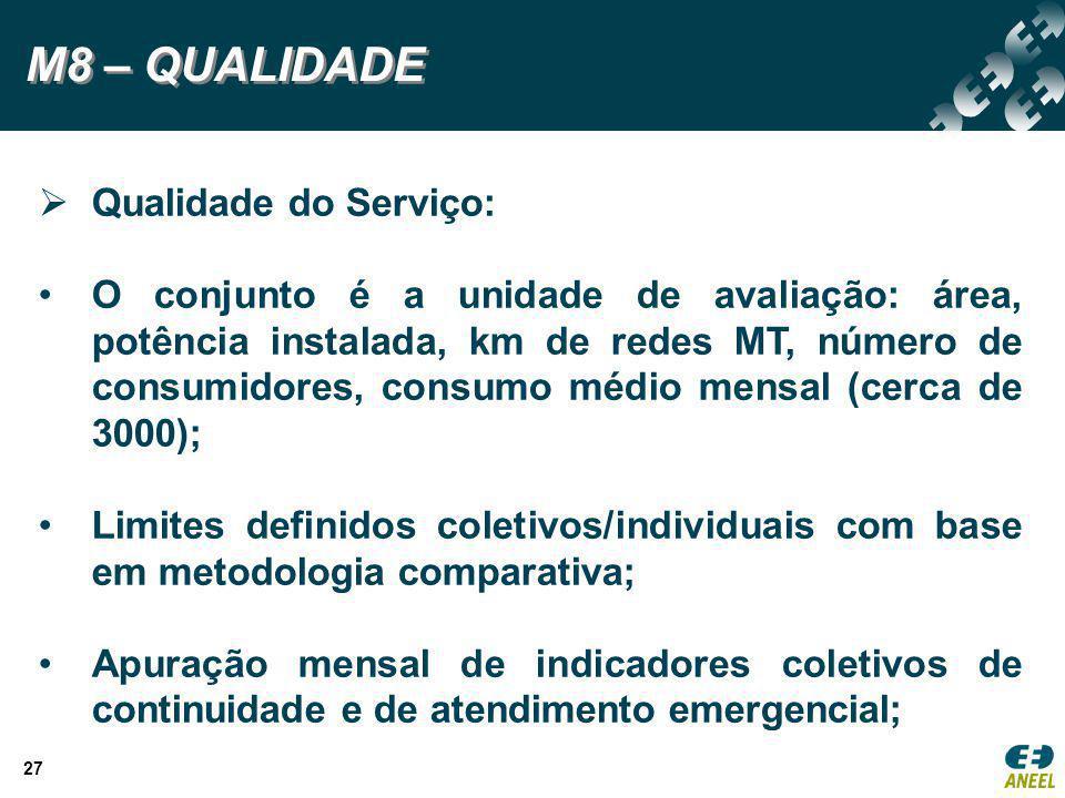 27 M8 – QUALIDADE  Qualidade do Serviço: O conjunto é a unidade de avaliação: área, potência instalada, km de redes MT, número de consumidores, consu
