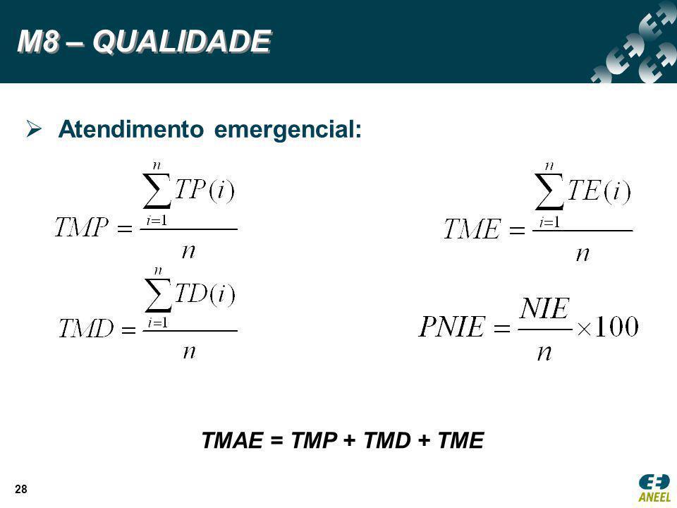 28 M8 – QUALIDADE TMAE = TMP + TMD + TME  Atendimento emergencial: