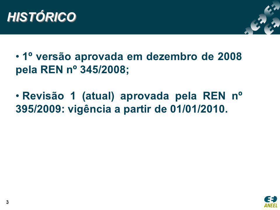 3 HISTÓRICO 1º versão aprovada em dezembro de 2008 pela REN nº 345/2008; Revisão 1 (atual) aprovada pela REN nº 395/2009: vigência a partir de 01/01/2