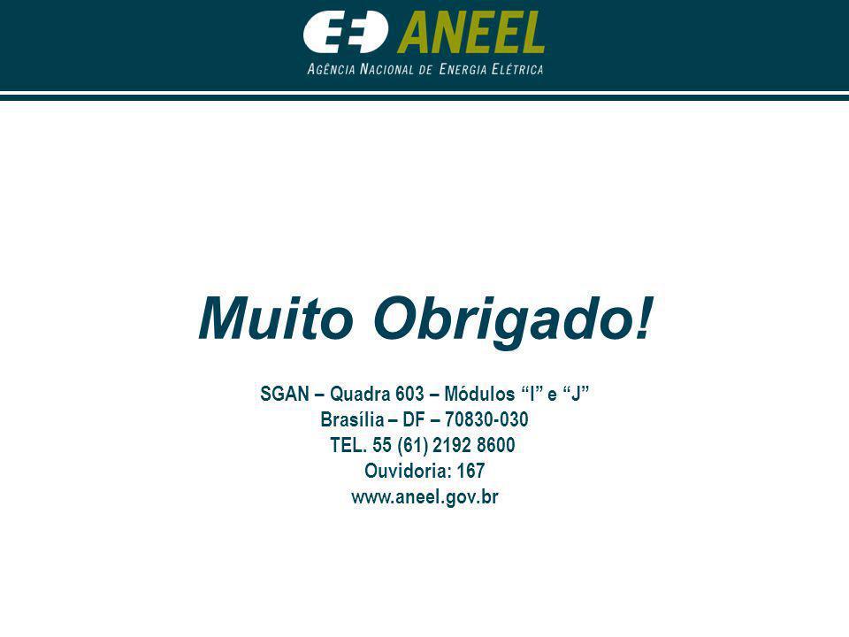 """Muito Obrigado! SGAN – Quadra 603 – Módulos """"I"""" e """"J"""" Brasília – DF – 70830-030 TEL. 55 (61) 2192 8600 Ouvidoria: 167 www.aneel.gov.br"""