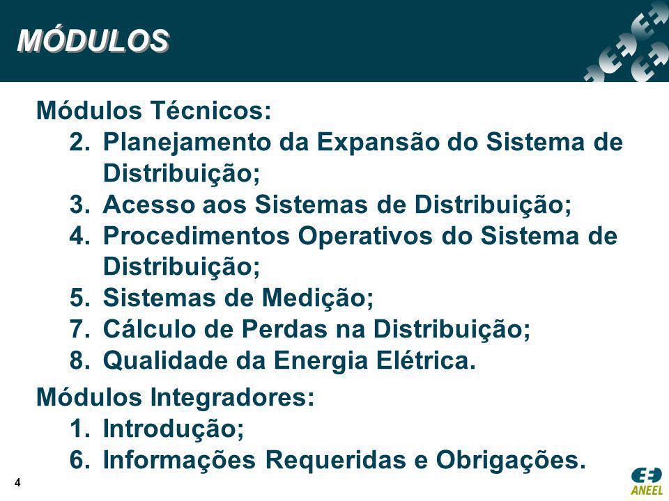 4 Módulos Técnicos: 2.Planejamento da Expansão do Sistema de Distribuição; 3.Acesso aos Sistemas de Distribuição; 4.Procedimentos Operativos do Sistem
