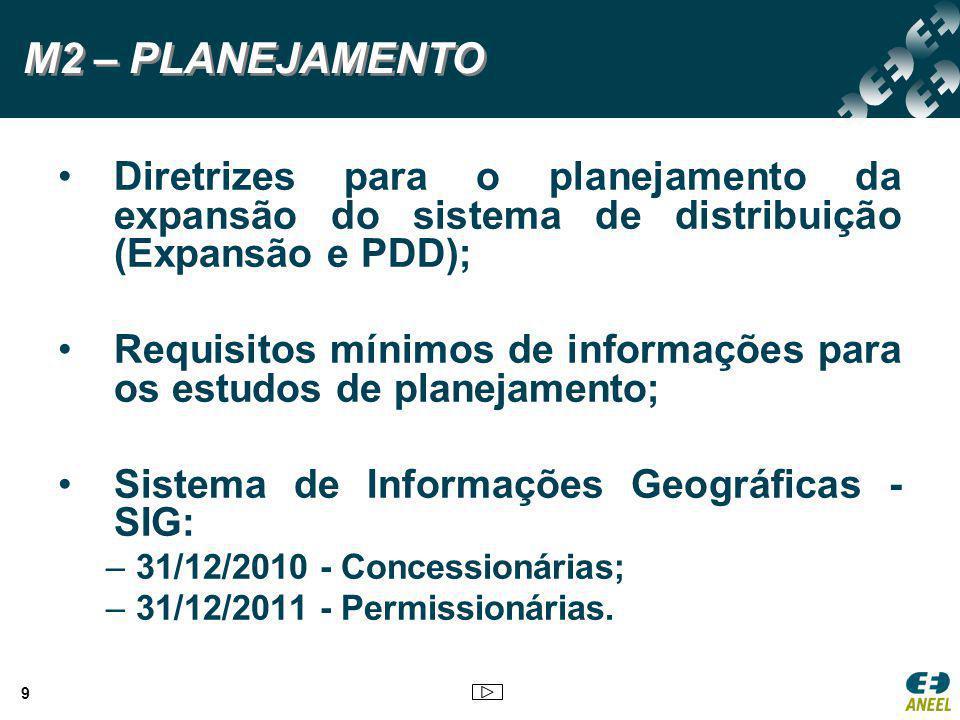 9 Diretrizes para o planejamento da expansão do sistema de distribuição (Expansão e PDD); Requisitos mínimos de informações para os estudos de planeja
