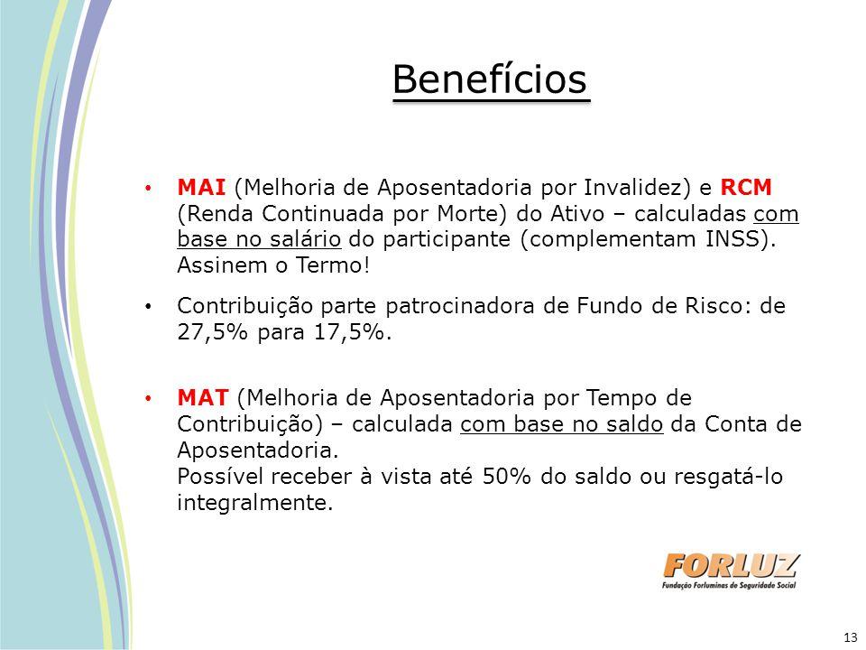 Benefícios MAI (Melhoria de Aposentadoria por Invalidez) e RCM (Renda Continuada por Morte) do Ativo – calculadas com base no salário do participante