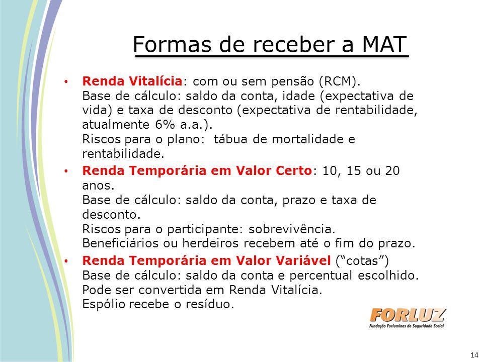 Formas de receber a MAT Renda Vitalícia: com ou sem pensão (RCM). Base de cálculo: saldo da conta, idade (expectativa de vida) e taxa de desconto (exp