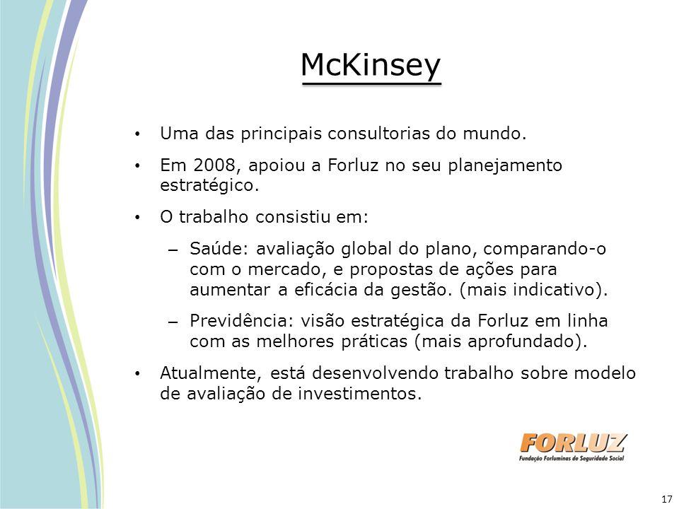 McKinsey Uma das principais consultorias do mundo. Em 2008, apoiou a Forluz no seu planejamento estratégico. O trabalho consistiu em: – Saúde: avaliaç