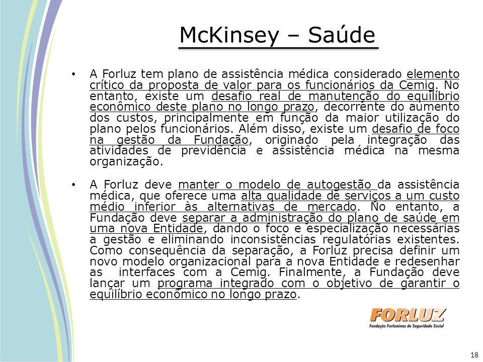 McKinsey – Saúde A Forluz tem plano de assistência médica considerado elemento crítico da proposta de valor para os funcionários da Cemig. No entanto,