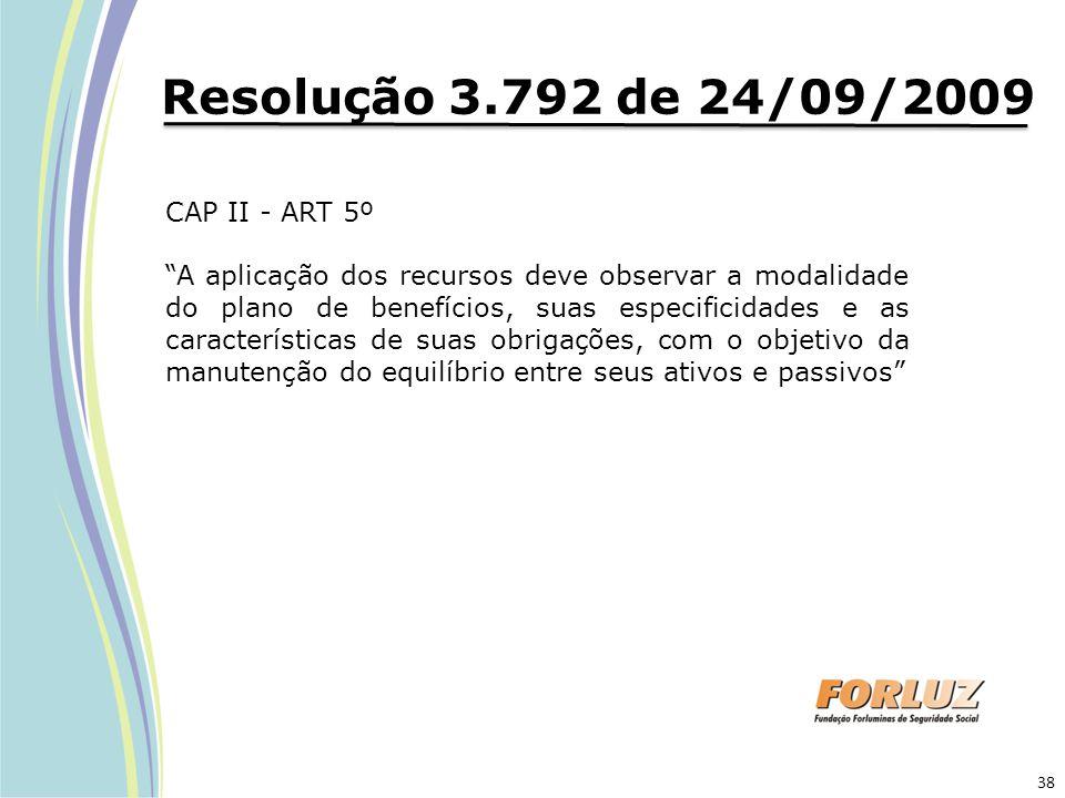 """Resolução 3.792 de 24/09/2009 CAP II - ART 5º """"A aplicação dos recursos deve observar a modalidade do plano de benefícios, suas especificidades e as c"""