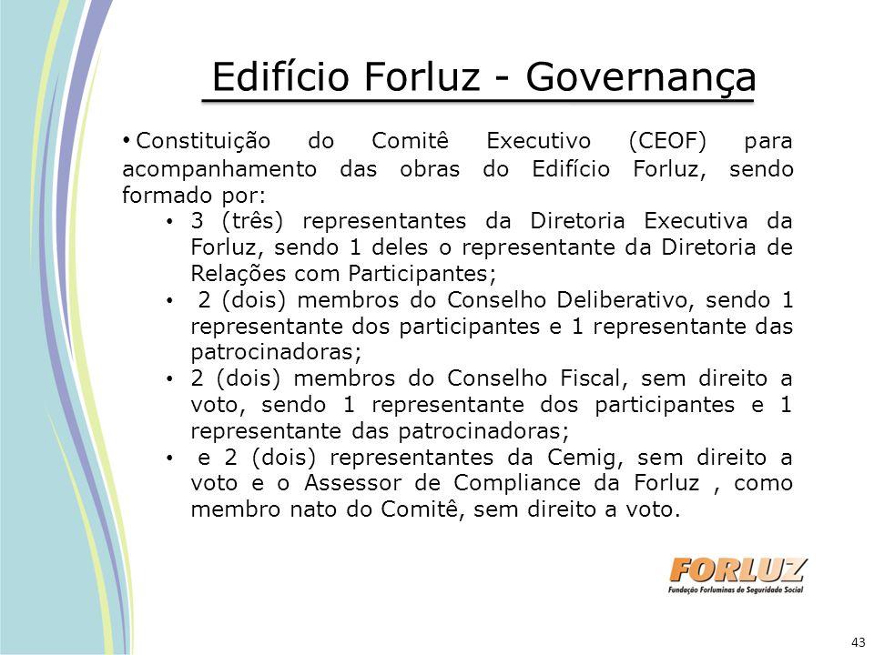Edifício Forluz - Governança Constituição do Comitê Executivo (CEOF) para acompanhamento das obras do Edifício Forluz, sendo formado por: 3 (três) rep