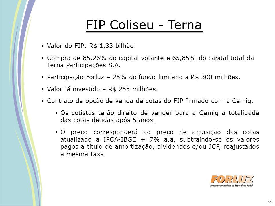 FIP Coliseu - Terna Valor do FIP: R$ 1,33 bilhão. Compra de 85,26% do capital votante e 65,85% do capital total da Terna Participações S.A. Participaç