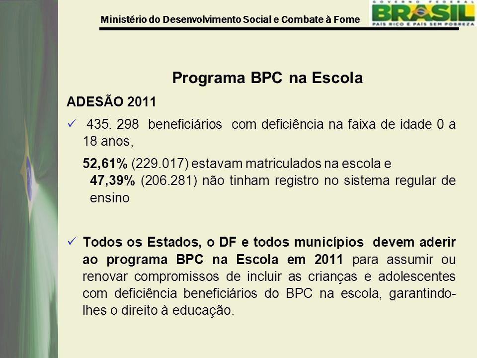 Ministério do Desenvolvimento Social e Combate à Fome Programa BPC na Escola ADESÃO 2011 435.