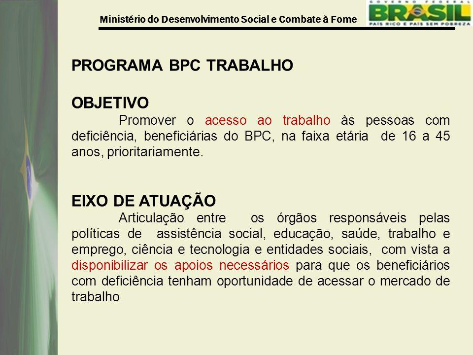 Ministério do Desenvolvimento Social e Combate à Fome PROGRAMA BPC TRABALHO OBJETIVO Promover o acesso ao trabalho às pessoas com deficiência, beneficiárias do BPC, na faixa etária de 16 a 45 anos, prioritariamente.