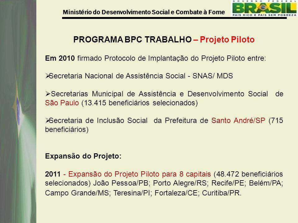 Ministério do Desenvolvimento Social e Combate à Fome PROGRAMA BPC TRABALHO – Projeto Piloto Em 2010 firmado Protocolo de Implantação do Projeto Piloto entre:  Secretaria Nacional de Assistência Social - SNAS/ MDS  Secretarias Municipal de Assistência e Desenvolvimento Social de São Paulo (13.415 beneficiários selecionados)  Secretaria de Inclusão Social da Prefeitura de Santo André/SP (715 beneficiários) Expansão do Projeto: 2011 - Expansão do Projeto Piloto para 8 capitais (48.472 beneficiários selecionados) João Pessoa/PB; Porto Alegre/RS; Recife/PE; Belém/PA; Campo Grande/MS; Teresina/PI; Fortaleza/CE; Curitiba/PR.