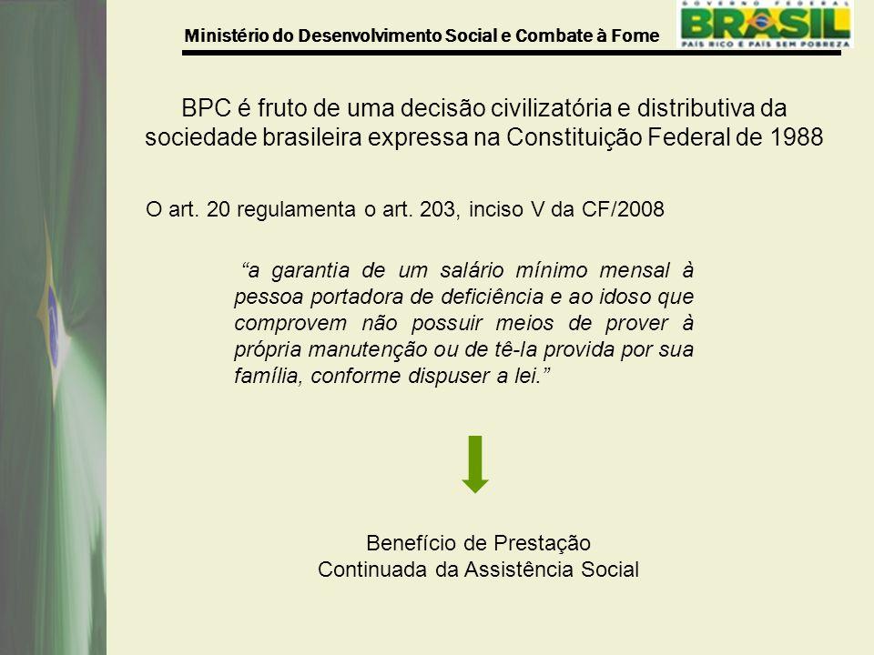 Ministério do Desenvolvimento Social e Combate à Fome O art.