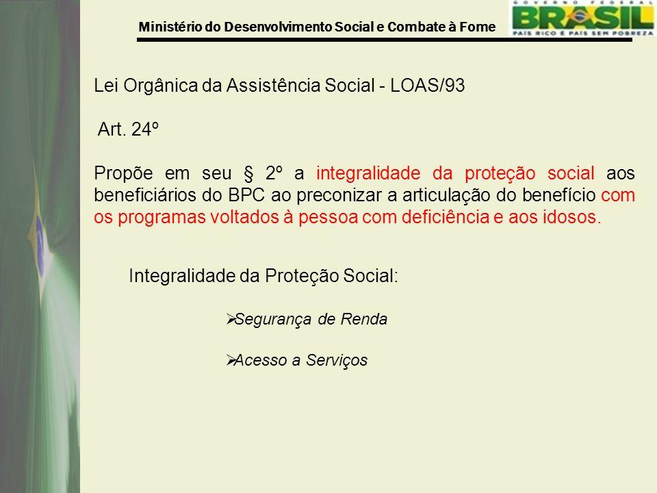 Ministério do Desenvolvimento Social e Combate à Fome Lei Orgânica da Assistência Social - LOAS/93 Art.