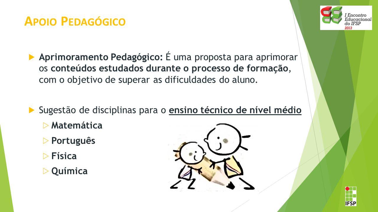 A POIO P EDAGÓGICO  Aprimoramento Pedagógico: É uma proposta para aprimorar os conteúdos estudados durante o processo de formação, com o objetivo de