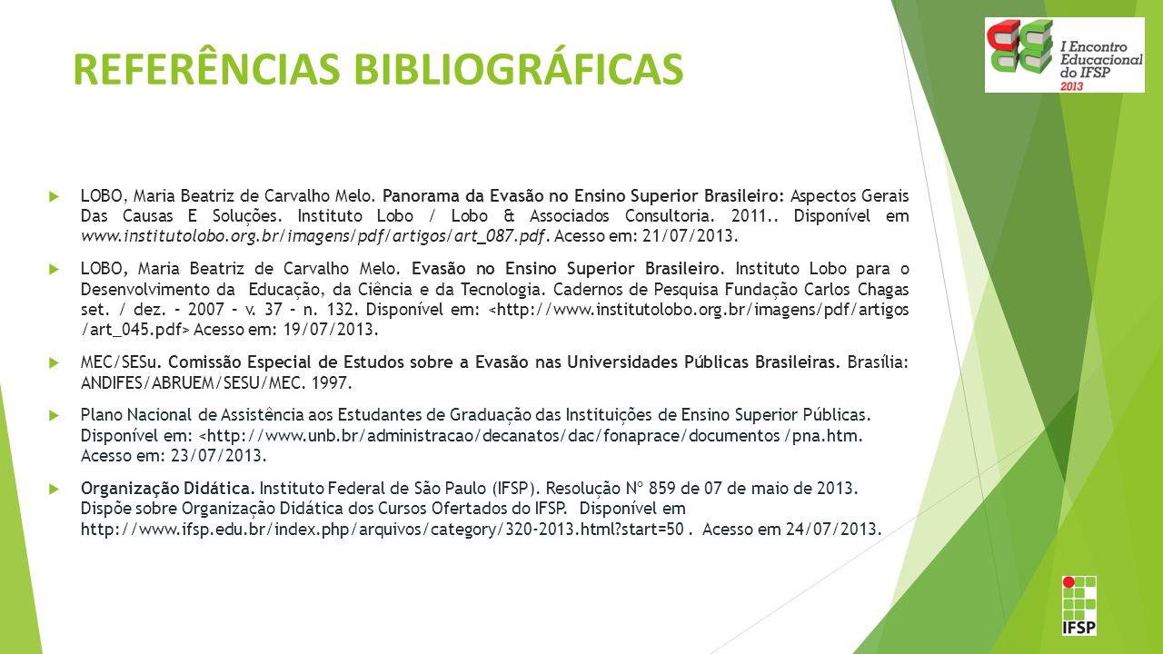 REFERÊNCIAS BIBLIOGRÁFICAS  LOBO, Maria Beatriz de Carvalho Melo. Panorama da Evasão no Ensino Superior Brasileiro: Aspectos Gerais Das Causas E Solu