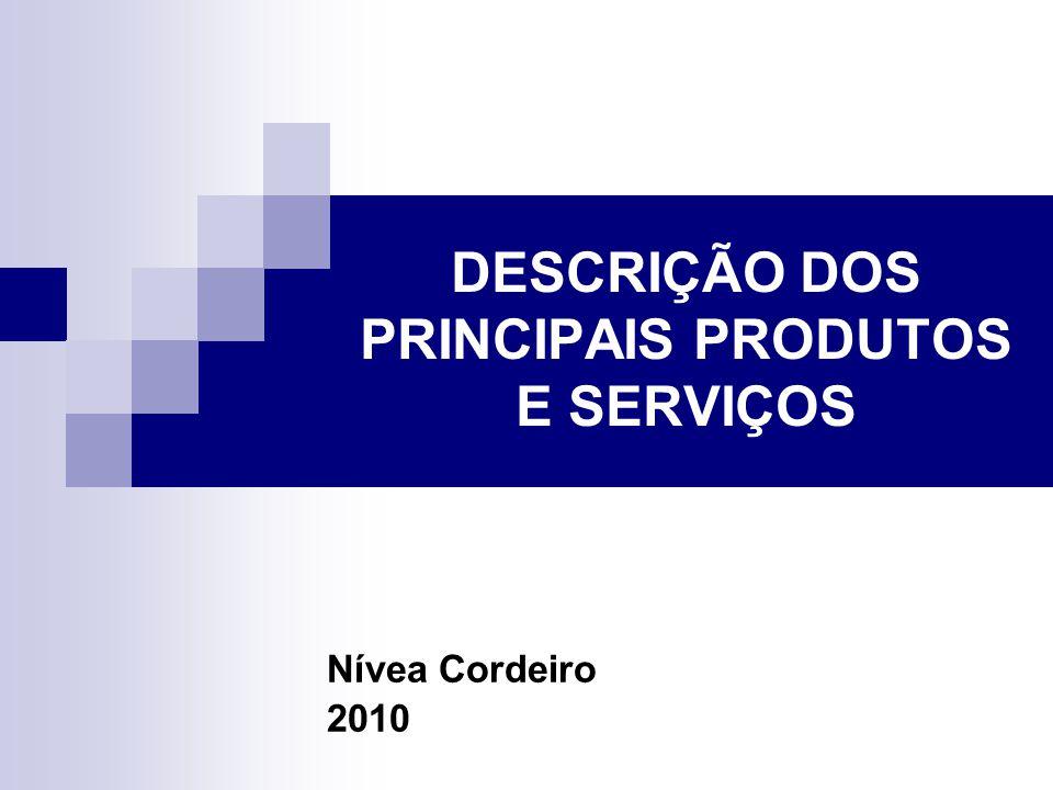 DESCRIÇÃO DOS PRINCIPAIS PRODUTOS E SERVIÇOS Nívea Cordeiro 2010