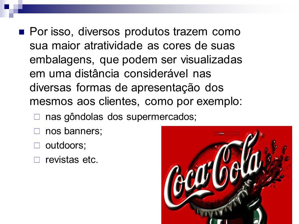 Por isso, diversos produtos trazem como sua maior atratividade as cores de suas embalagens, que podem ser visualizadas em uma distância considerável n