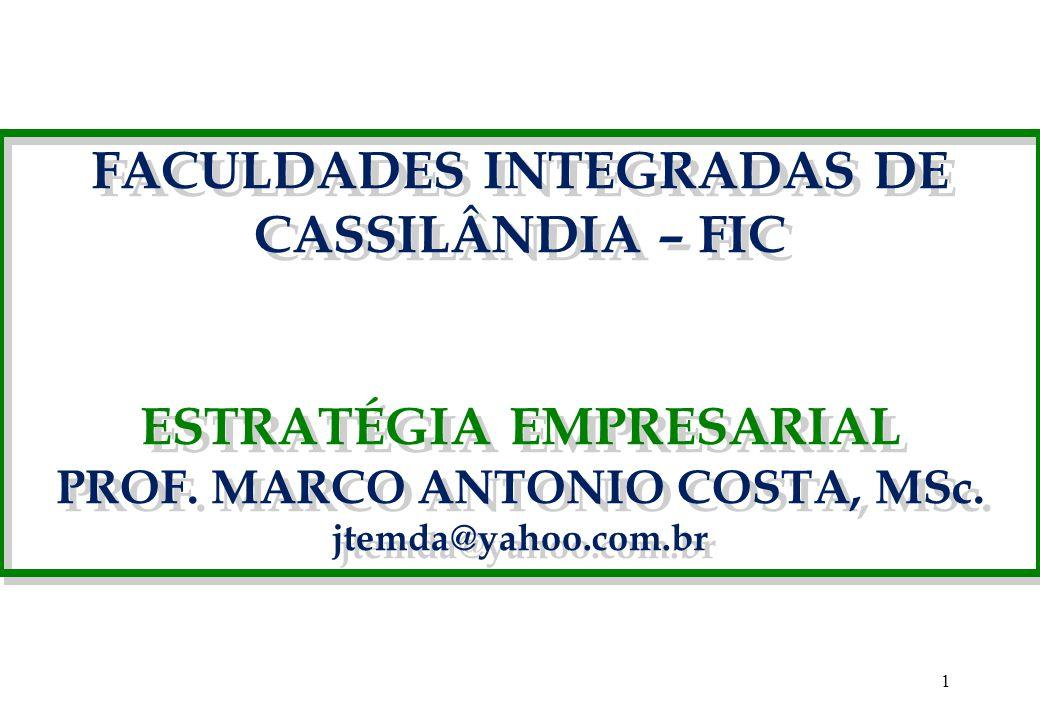 1 FACULDADES INTEGRADAS DE CASSILÂNDIA – FIC ESTRATÉGIA EMPRESARIAL PROF. MARCO ANTONIO COSTA, MSc. jtemda@yahoo.com.br FACULDADES INTEGRADAS DE CASSI