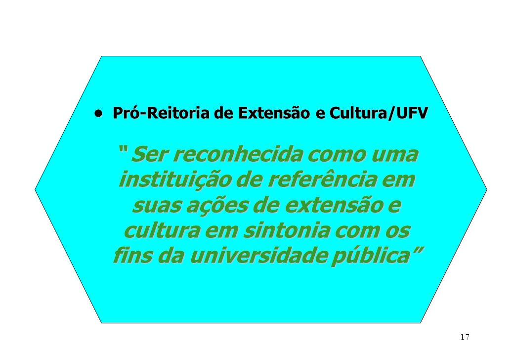 """17 Pró-Reitoria de Extensão e Cultura/UFV """" Ser reconhecida como uma instituição de referência em suas ações de extensão e cultura em sintonia com os"""