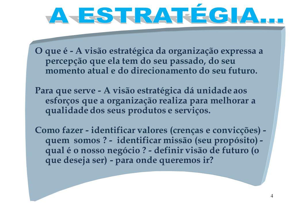 4 O que é - A visão estratégica da organização expressa a percepção que ela tem do seu passado, do seu momento atual e do direcionamento do seu futuro