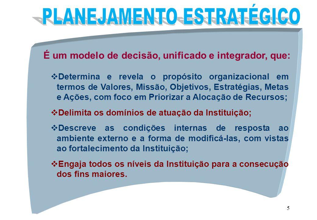 5 É um modelo de decisão, unificado e integrador, que: vDetermina e revela o propósito organizacional em termos de Valores, Missão, Objetivos, Estraté