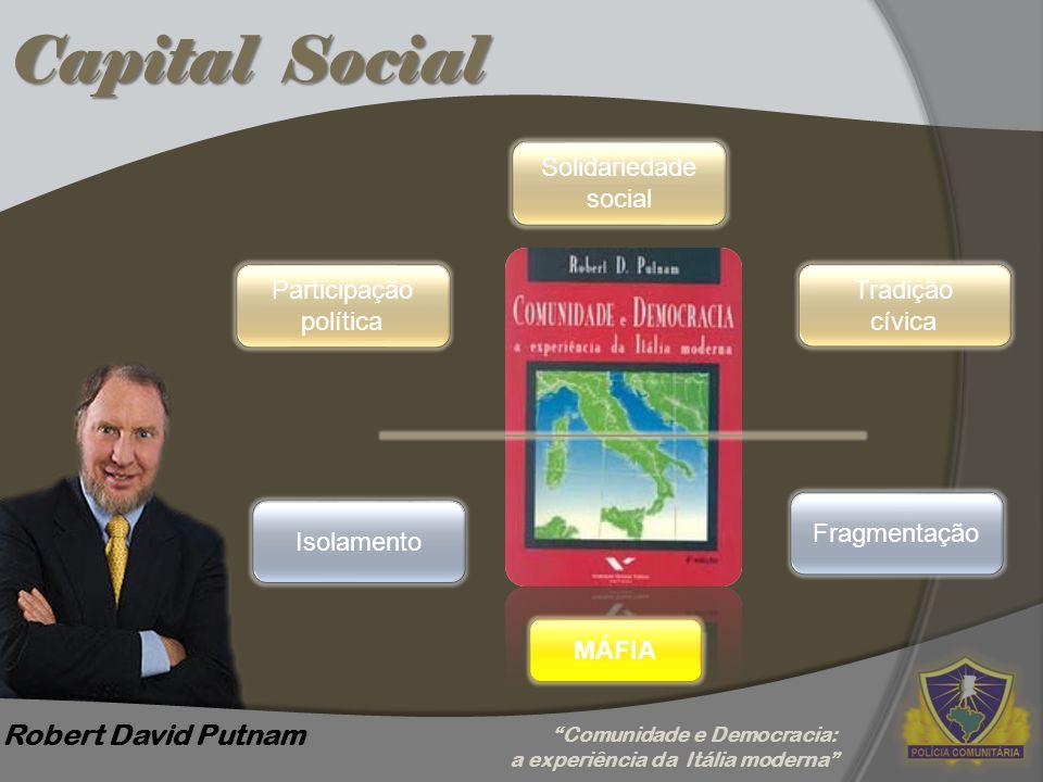 """Capital Social Robert David Putnam Participação política Solidariedade social Tradição cívica Fragmentação Isolamento MÁFIA """"Comunidade e Democracia:"""