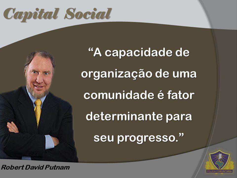 """Capital Social Robert David Putnam """"A capacidade de organização de uma comunidade é fator determinante para seu progresso."""""""
