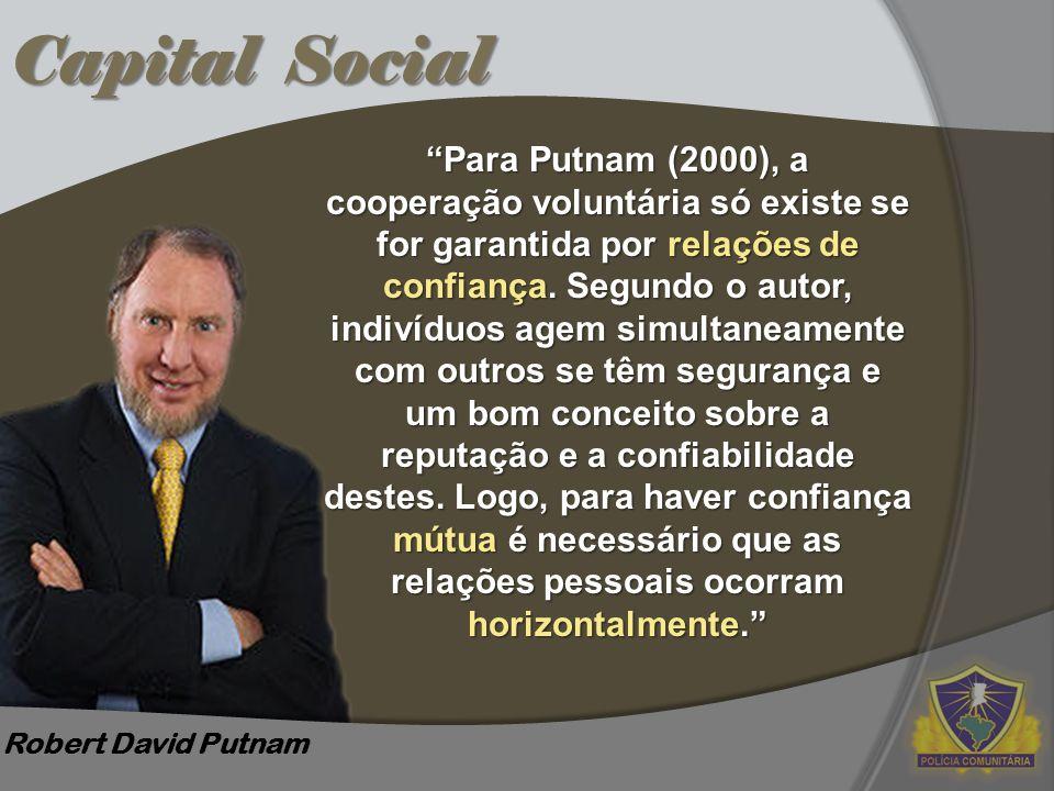 """Capital Social Robert David Putnam """"Para Putnam (2000), a cooperação voluntária só existe se for garantida por relações de confiança. Segundo o autor,"""