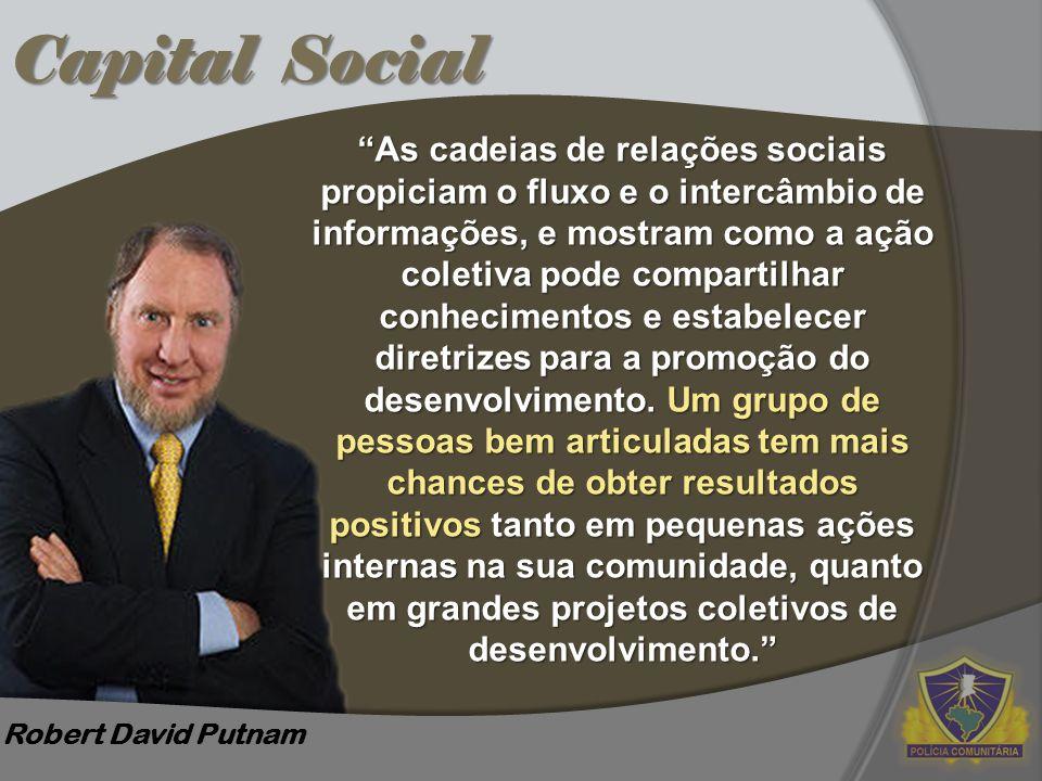 """Capital Social Robert David Putnam """"As cadeias de relações sociais propiciam o fluxo e o intercâmbio de informações, e mostram como a ação coletiva po"""