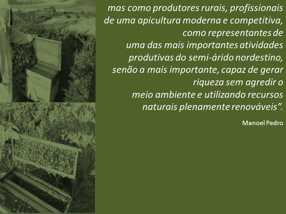 mas como produtores rurais, profissionais de uma apicultura moderna e competitiva, como representantes de uma das mais importantes atividades produtiv