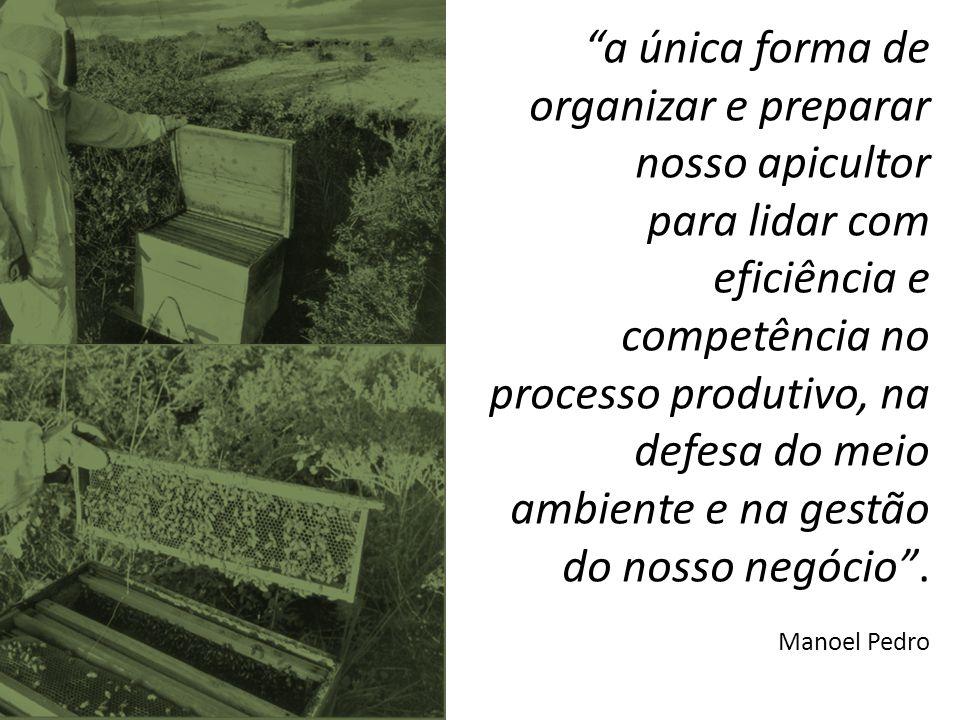 """""""a única forma de organizar e preparar nosso apicultor para lidar com eficiência e competência no processo produtivo, na defesa do meio ambiente e na"""