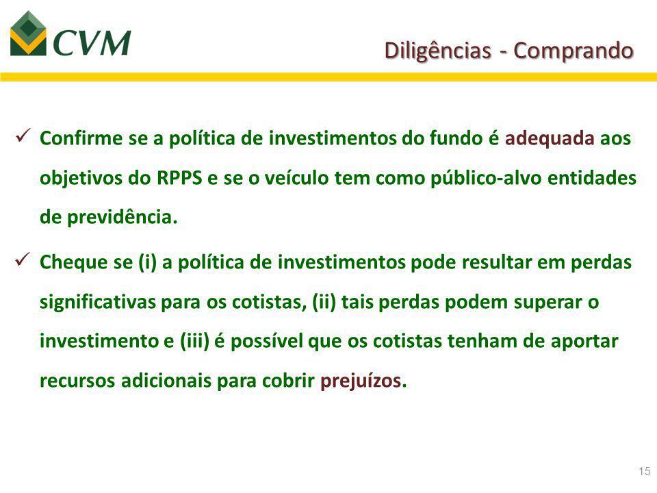 Diligências - Comprando Confirme se a política de investimentos do fundo é adequada aos objetivos do RPPS e se o veículo tem como público-alvo entidades de previdência.