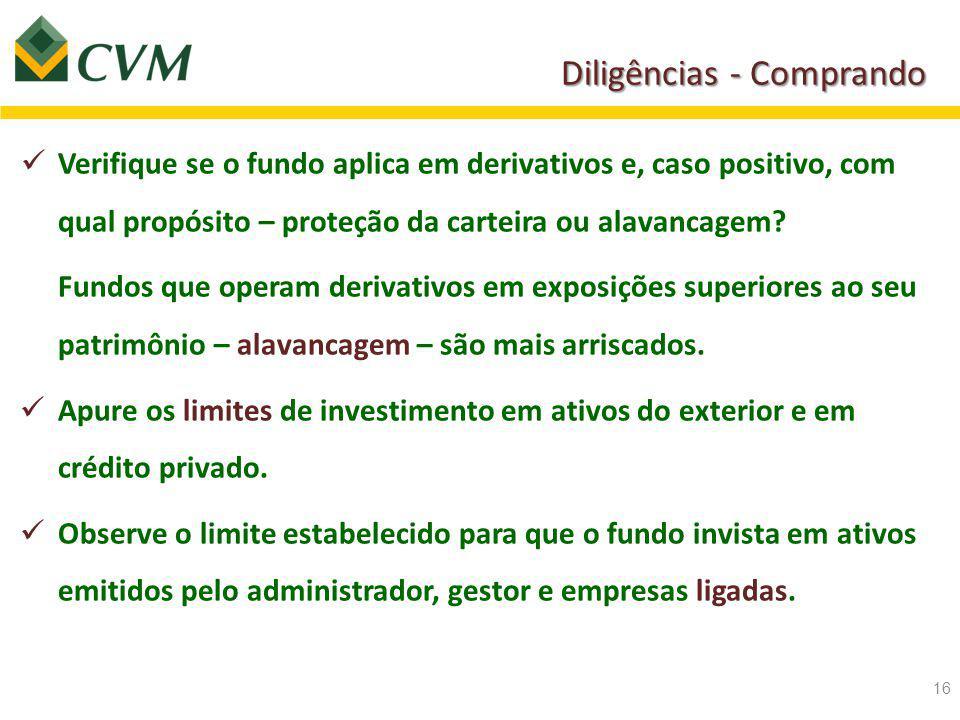 Diligências - Comprando Verifique se o fundo aplica em derivativos e, caso positivo, com qual propósito – proteção da carteira ou alavancagem.